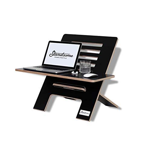 Standsome Slim Black mit breiter Ebene – Schreibtischaufsatz aus Holz, Sitz Steh Schreibtisch, höhenverstellbarer Stehpult Aufsatz, Workstation, ergonomischer Stehschreibtisch, schwarz