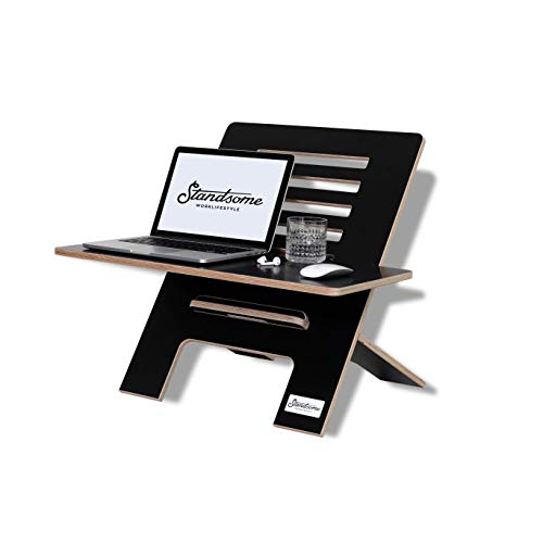 Standsome Slim Black mit breiter Ebene – Der Schreibtischaufsatz aus Holz, Stehpult Aufsatz höhenverstellbar, Schreibtisch Erhöhung und Stehtisch schwarz