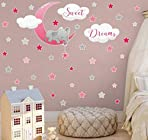 Sleeping Elephant Wall Sticker Elephant Sweet Dreams Wall Decoration Moon Stars Wall Pictures Wall Sticker Nursery Animals Decoration Baby Room Boy Children's Bedroom (Pink Red)