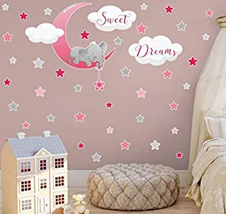 Elephant Sticker mural Motif éléphants Sweet Dreams Décoration murale Lune étoiles Décoration murale pour chambre d'enfant...