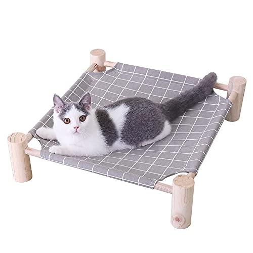 BingoPaw Cama Elevada Mascota Perro Gato, Nido Elevado para Mascota de Madera y Lona extraíble Lavable, Cama Dormir Mascota Exterior Jardín Viajes 47 x 47 x 13 cm