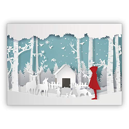 4 Stück im Set: Süße Weihnachtskarte in Papercut Optik (NICHT 3D) mit Rotkäppchen vor Winter Krippe • schönes Glückwunsch Karten Set mit Umschlägen zu Weihnachten, Neujahr, Silvester
