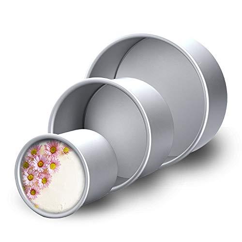 DMFSHI Tortiere Rotonde, Tortiera in Alluminio, Padella Tonda 3 Pezzi, Tortiera Tonda Antiaderente con Fondo Rimovibile, per Torte e Pasticcini (4, 6, 8)