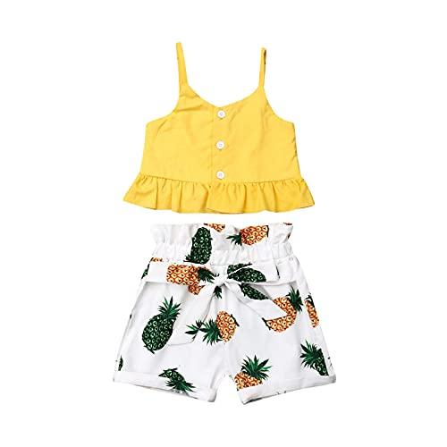 Carolilly Conjunto de ropa para bebé, niña, ropa de verano, 2 piezas, conjunto de ropa para niña Amarillo C 3-4 Años