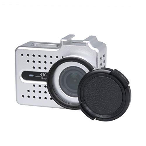 SNUIX Carcasa Protectora de Carcasa de aleación de Aluminio CNC con Filtro UV y Tapa Protectora de Lente for cámara de acción Deportiva Xiaomi Xiaoyi Yi II 4K (Negra). (Color : Silver)