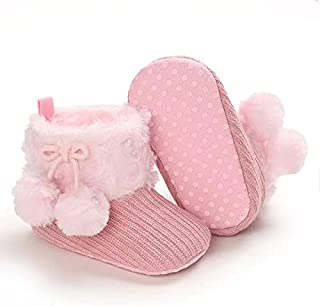 Mix&Max fleece shoes with fur balls for girls-0/6Month-Pink
