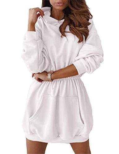 Sudaderas con Capucha Mujer Manga Larga Jersey Larga Casual Vestidos Sudadera Vestidos Hoodie Jersey Larga con Bolsillos Blanco XL