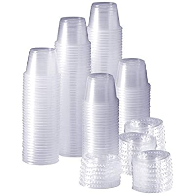 200 Plastic Disposable Portion Cups with Lids,