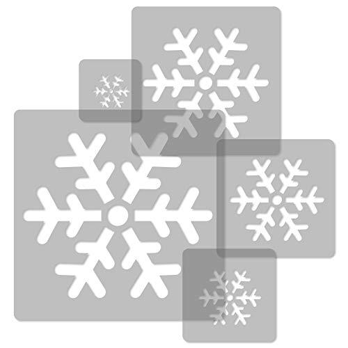 5 Stück wiederverwendbare Kunststoff-Schablonen // SCHNEEFLOCKE // 34x34cm bis 9x9cm // Kinderzimmer-Dekorarion // Kinderzimmer-Vorlage