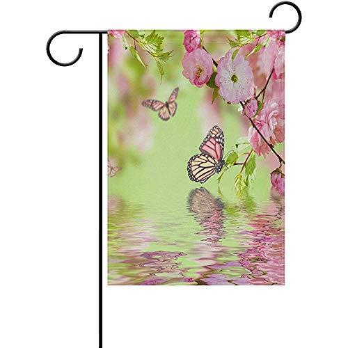 Home Flag Ative Schmetterling Und Blumengarten Flagge Ns Rosa Blume Und Wasser Fahnen Frühling Sommer Geschenk Willkommen 32X48 Cm Doppelseite Garten Flagge Banner Urlaub Außerhalb Decoratio Out
