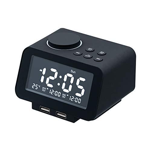 Mcbazel - Reloj despertador digital, radio FM, puertos de carga USB duales, 3 ajustes de alarma, detección de temperatura, 5 sonidos...
