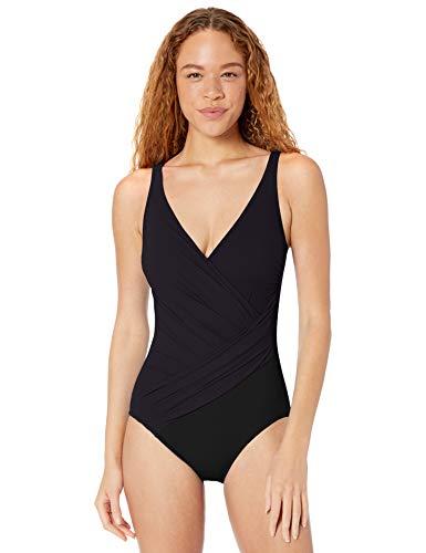 Gottex Damen Draped Panel Wrap Surplice One Piece Swimsuit Einteiliger Badeanzug, Gitter schwarz, 42