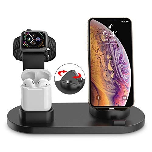 Supporto di Ricarica per iWatch, Supporto di Ricarica Dock Station Supporto Dock Ricarica Holder per Apple Watch Airpods iPhone X/8 Plus/XS MAX/XR per Various Cellphones, Type-C & Micro USB Phones