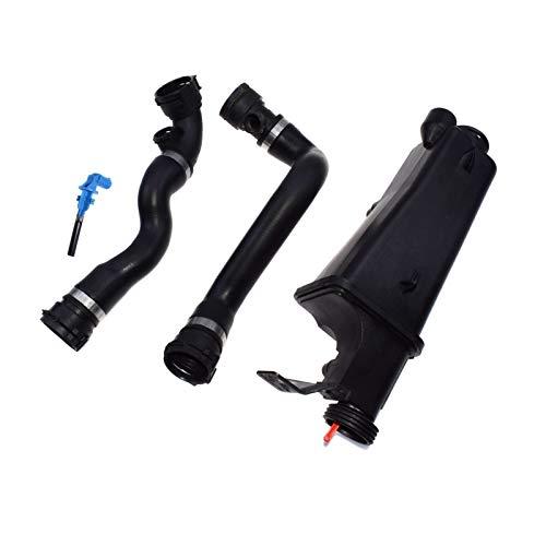 VITKT Conjunto 4pcs refrigerante Radiador de expansión Tanque de expansión superior Radiador inferior Kit de manguera ajustada para BMW 17111436413 17111436411111111436408 17127510952 17127510952 Term