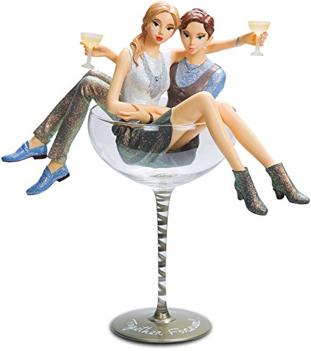 Pavilion Gift Company Hiccup - Together Forever Lesbian Girl Figurines in Swirl Silver Martini Glass, Off-White