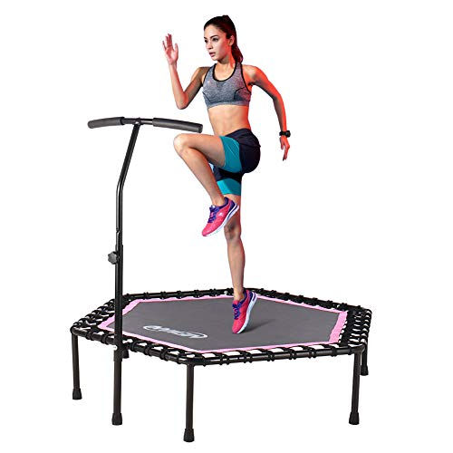 Newan 48'' Silent Trampoline with Adjustable Handle Bar, Fitness Trampoline Bungee Rebounder Jumping Cardio Trainer Workout for Adults - Max Limit 330 lbs