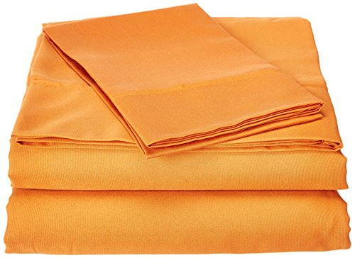 JS Sanders Collection 1200 Thread Count Twin Size Extra Long, Egyptian 3pc Bed Sheet Set, Deep Pocket, Burnt Orange