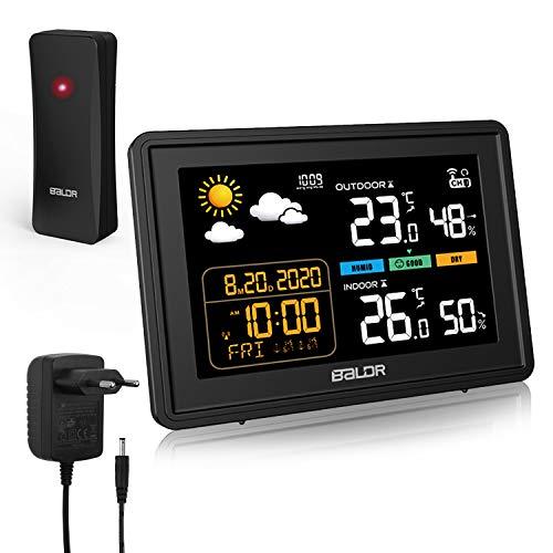 AETKFO Wetterstation mit Außensensor Funk Digitales Farbdisplay DCF-Funkuhr relativer Luftdruck Wecker Multifunktionale Innen und Außen temperaturFunkwetterstation Thermometer Hygrometer