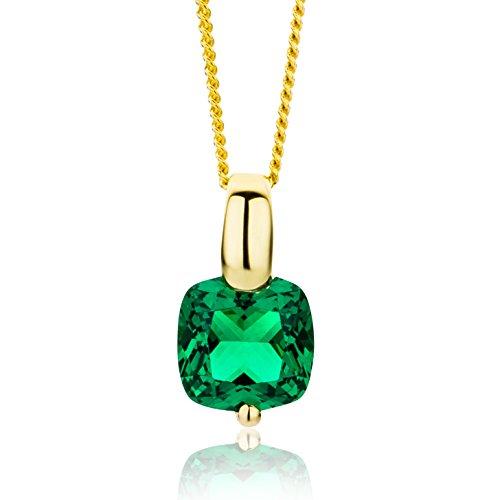 Miore Kette Damen Halskette mit viereckigen Anhänger Edelstein/Geburtsstein Smaragd in grün Kette aus Gelbgold 9 Karat / 375 Gold, Halsschmuck 45 cm lang