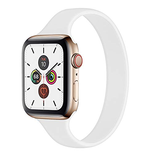 Slim Thin Strap Compatible with Apple Watch Band 38mm 40mm 42mm 44mm Solo Loop Stretchy Silicone Women Men Elastic Narrow Sport Soft Replacement Wristband for iWatch Series SE/6/5/4/3/2/1