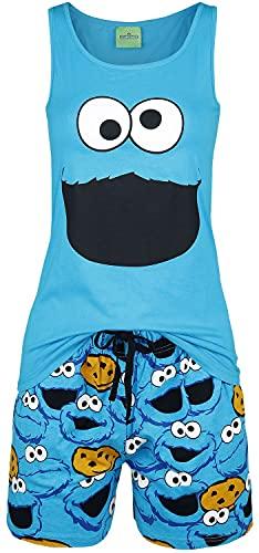 Barrio Sesamo El Monstruo de Las Galletas - Face Mujer Pijama Azul 3XL, 100% algodón,
