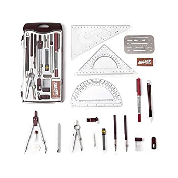 Drawing Tools & Kits 20Pc Geometry Set Aluminum Compass,Protractors,Set Square,Ball Pen,Bow-Pen,Erasing Shield etc.for Basic Beginner Engineers and Students.Size 10x4.6x1 inches  red