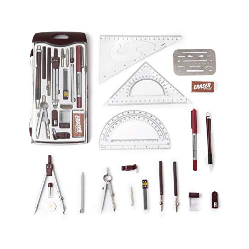 Drawing Tools & Kits 20Pc Geometry Set Aluminum Compass,Protractors,Set Square,Ball Pen,Bow-Pen,Erasing Shield etc.for Basic Beginner Engineers and Students.Size:10x4.6x1 inches (red)