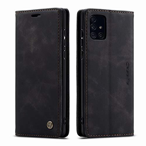 AZONE Hülle für Samsung Galaxy A51 Handyhülle, Premium Leder Flip Schutzhülle Ledertasche Etui Lederhülle - Schwarz