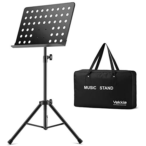 Vekkia Music Stand for Sheet Music - 19.68'x13.31' Extra-Wide Bookplate, Metal Portable Stand with Carrying Bag, Suitable for Instrumental Performance & Band, Black