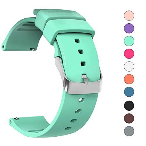 JIELIELE Uhrenarmband Edelstahl Gürtelschnalle 20mm Kautschuk Armband für Samsung Gear Sport/Gear S2 Classic/Huawei Watch 2 / Withings (Nokia) Steel HR 40mm / Moto 360 2nd Gen Men's 42mm (20mm, Cyan)