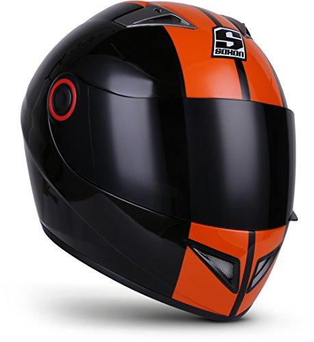 "Soxon® ST-666 ""Deluxe Night"" · Integral-Helm · Full-Face Motorrad-Helm Roller-Helm Scooter-Helm Cruiser Sturz-Helm StreetFighter-Helm Sport MTB · ECE 22.05 Visier Schnellverschluss Tasche XL (61-62cm)"