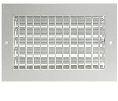 """16"""" X 8"""" Adjustable AIR Supply Diffuser - HVAC Vent Cover Sidewall or Ceiling - Grille Register - High Airflow - White [Outer Dimensions: 17.75""""w X 9.75""""h]"""