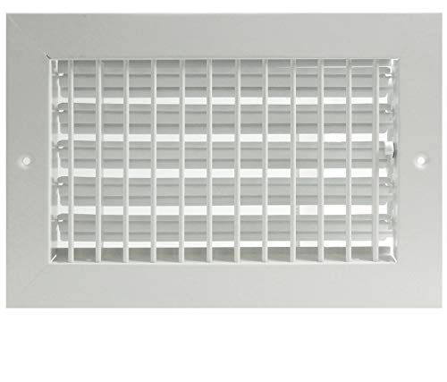 12'w X 6'h Adjustable AIR Supply Diffuser - HVAC Vent Cover Sidewall or Ceiling - Grille Register - High Airflow - White [Outer Dimensions: 13.75'w X 7.75'h]