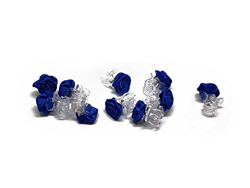 10 x Rosen auf Haarklammer - Brauthaarschmuck - Rosenhaarklammern - Blau