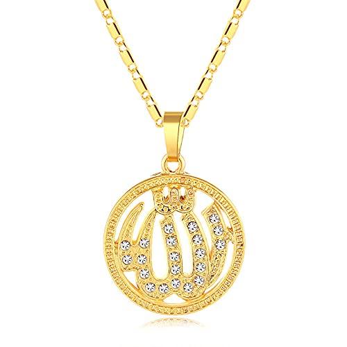 Nuevo collar clásico musulmán de Alá árabe de Oriente Medio colgante redondo para mujer Color dorado / plateado joyería religiosa islámica-Gold_45CM
