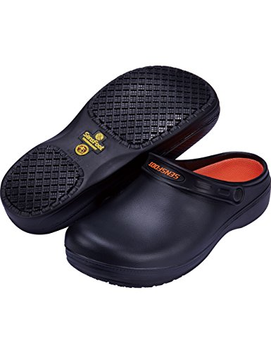 SensFoot Unisex Slip Resistant Chef Clogs (11-11.5 US Men) Black