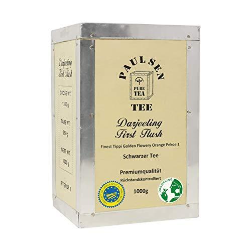 Paulsen Tee Darjeeling First Flush Schwarzer Tee, in Teekiste, 1000g, rückstandskontrolliert & zertifiziert