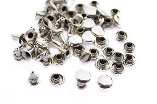 100 stuks 2-delige zilveren dopjes klinknagels, 8 mm x 8 mm - van messing - accessoires voor kleding, jassen, jeans - mode knutselen