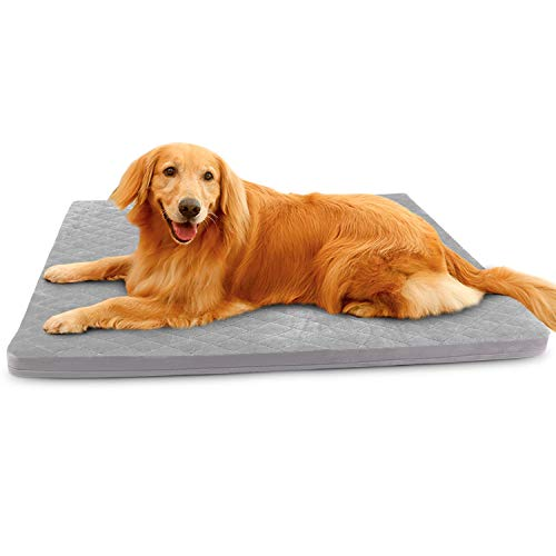 Large Dog Bed Mat Crate Pad Soft Pet Beds with Removable Cover Washable Anti Slip Pet Sleeping Mattress Grey, L Beds