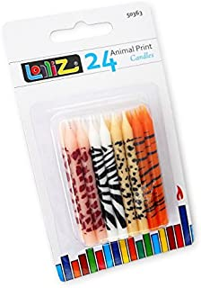 LolliZ Birthday Candles Animal Print. Pack of 24 Prints: 6X Giraffe, 6X Tiger, 6X Leopard, 6X Zebra