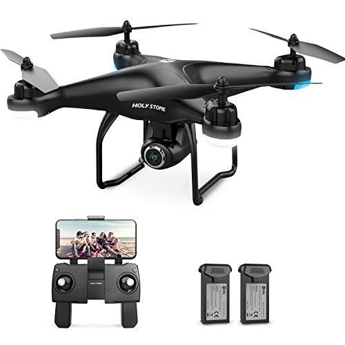 Holy Stone GPS Drohne HS120D mit 2K Kamera HD Live Video,Follow Me für Anfänger,RC Quadrocopter ferngesteuert mit 2 Akkus Lange Flugzeit,Handysteuerung,Return Home,Flugbahn Funktion für Kinder
