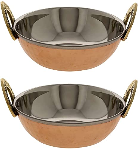 Karahi Indian Serving Dishes - 2-Piece Copper Bowl Set - Copper Kitchen Decor & Copper Anniversary Gifts