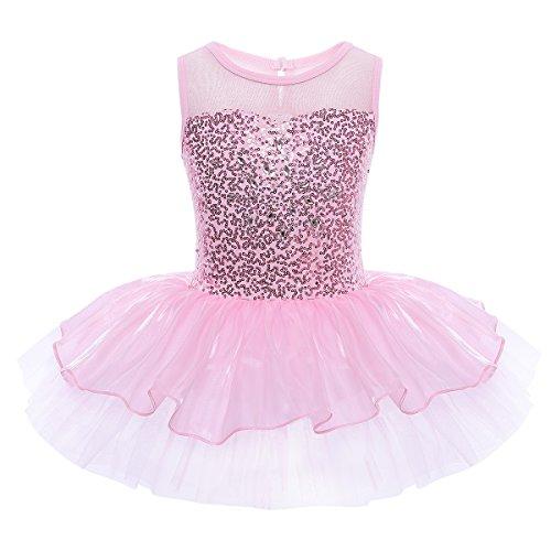Freebily Maillot de Ballet Danza Vestido Algodón de Princesa con Lentejuelas para Niña (3-10 años) Tutú Infantil Rosa 6 Años