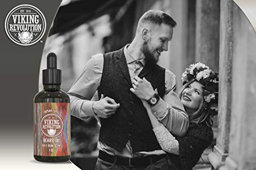 Bay Rum Beard Oil Conditioner- All Natural Bay Rum Scent Organic Argan & Jojoba Oils - Promotes Beard Growth - Softens & Strengthens Beards and Mustaches for Men (1 Pack)