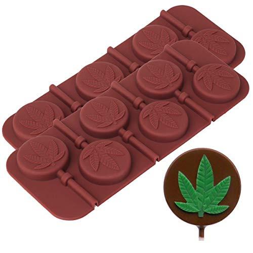 Marijuana Leaf Lollipop Silicone Candy Mold Tray, 2 Pack