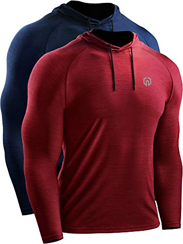Neleus Dry Fit Performance - Camiseta deportiva con capucha para hombre -  Rojo -  Large