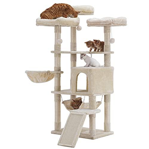 Hey-brother Poste rascador Estable, Torre Grande para Gatos con Postes rascadores, Beige EMP026M