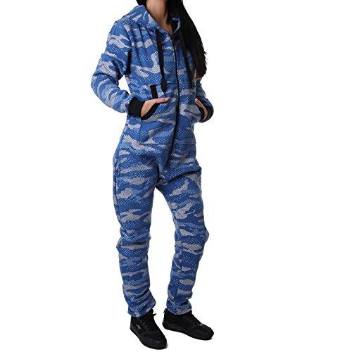 Crazy Age Damen Jumpsuit Camouflage Warm, Weich und Kuschelig CA 2850 (S, Hellblau)