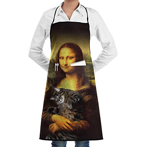 TNIJWMG Mona Lisa Fat Crazy Cat Apron Bib Pockets with Cooking for Kitchen Durable Unisex 20.5X28.3 Inth