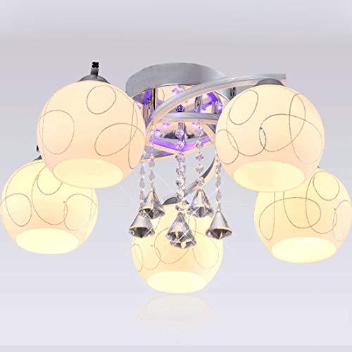 Hlele Moderne plafondlamp, glas, LED-plafondlamp, bruikbaar voor badkamer, slaapkamer, keuken, woonkamer, balkon en hal (dimbaar, vijf koppen)